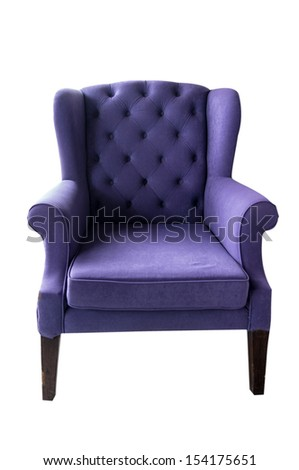 Old luxurious purple sofa on white background - stock photo