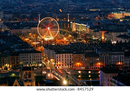 old Lyon at night viewed from the fourvieres hill - stock photo