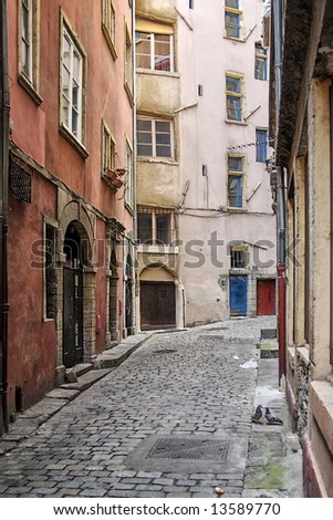 Old Lyon is  built with stones scavenged from the former Roman city of Lugdunum, capital of Roman Gaul. - stock photo