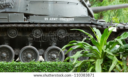 Old M48 Patton tank on display in a museum in Saigon (Vietnam) - stock photo