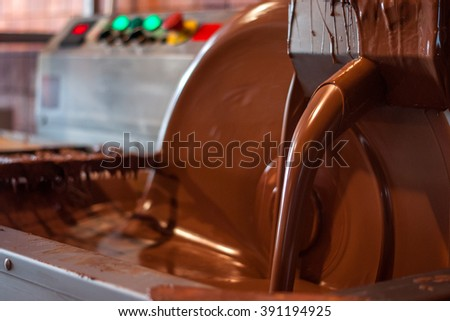 Old machine for the manufacture of chocolate. Melting and pouring chocolate. - stock photo