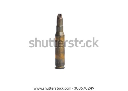 old machine gun bullet, isolated on white background