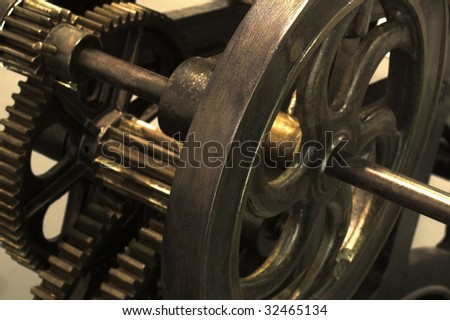 Old machine in detail. Gear and pinions - stock photo