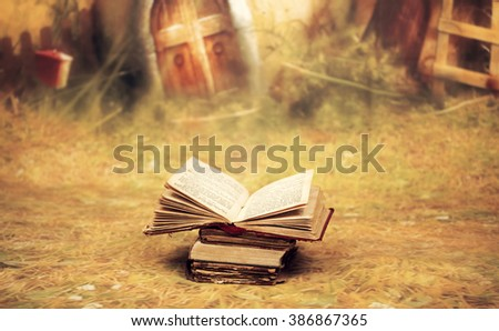 Old, magic, fairytale book - stock photo