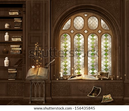 Old magic room  - stock photo