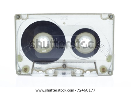 Old magnetic audio tape cassette  isolated on white