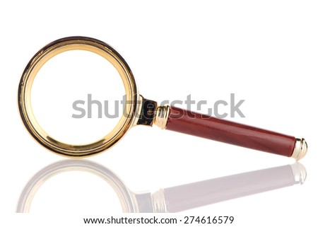 Old magnifying glass isolated over white background. - stock photo