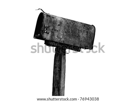 old mail box on white background - stock photo