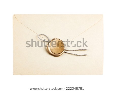 old mail envelope with gold wax seal stamps isolated on white - stock photo