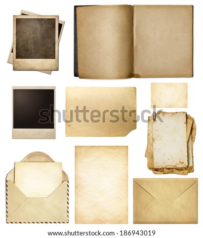 Old mail, paper, book, polaroid frames, stamp isolated collection - stock photo