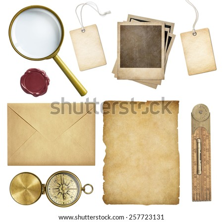Old mail, paper, price tags, polaroid frames, wax seal, compass isolated - stock photo