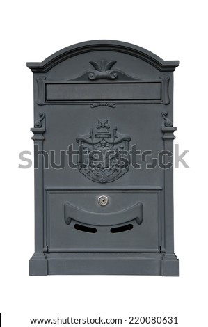 old mailbox on a white background - stock photo