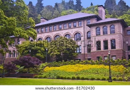 Old Main Hall at Western Washington University at Bellingham - stock photo