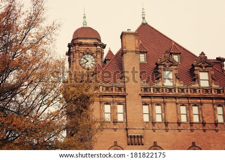 Old Main Street Train Station Clock Tower in Richmond - stock photo