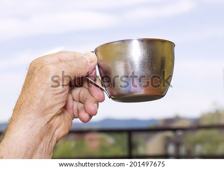 Old male hand need for water - stock photo