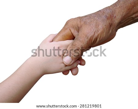old man and a kid holding hands together on white background - stock photo