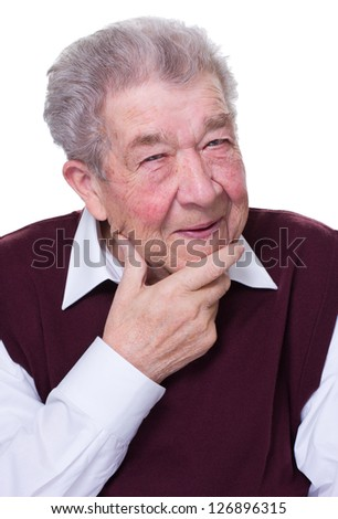 Old man as a thinker - stock photo