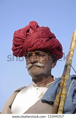 old man at annual camel fair pushkar - stock photo