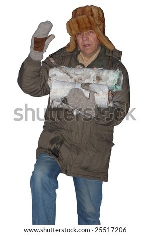 Old man carrying firewood - stock photo