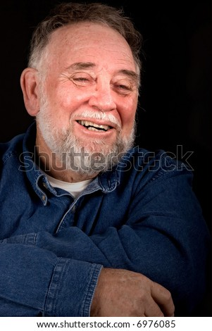 old man crying with joy and remembrance - stock photo