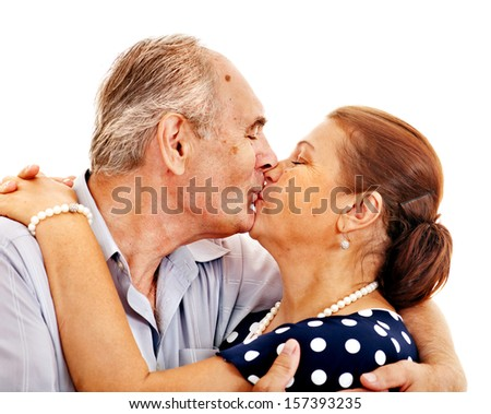 Old man embracing woman . Isolated. - stock photo