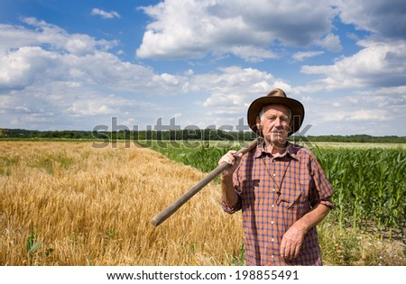 Old man farmer holding fork in front of corn and barley field and looking at camera - stock photo