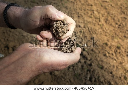 Old man hand examining soil with field in the background