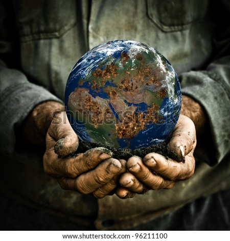 Old man holding the Earth in his hand. Elements of this image furnished by NASA - stock photo