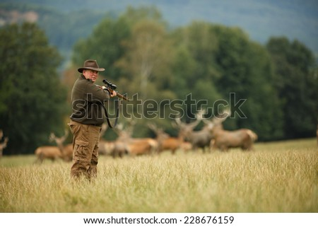 old man hunter waiting for his trophy on meadow, hunter with his rifle in spring forest, hunter holding a rifle and waiting for prey, hunter aiming and shooting, gamekeeper on the hunt - stock photo