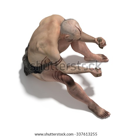 Old man of neanderthal making a flint tool - stock photo
