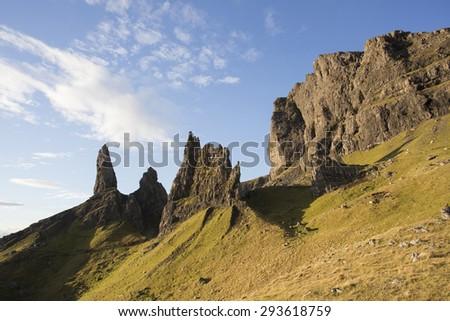 old man of storr at sunrise on isle of skye, scotland - stock photo