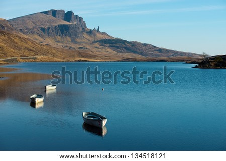 Old Man of Storr over Loch Leathann in the Isle of Skye,Scotland - stock photo