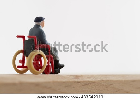 Old man of the wheelchair - stock photo