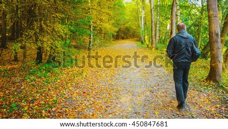 Old man outdoors. Autumn time