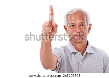 old man pointing 1 finger up, no.1 gesture - stock photo