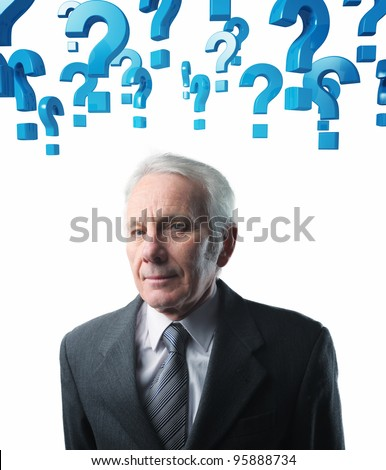 old man portrait and blue question mark background - stock photo