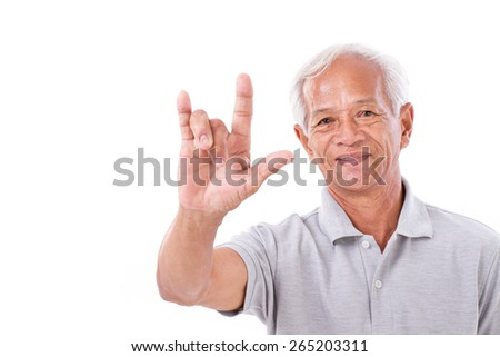 old man showing love hand sign - stock photo