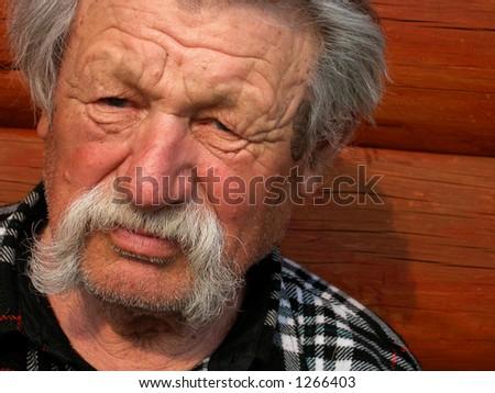 old man thinkg - stock photo