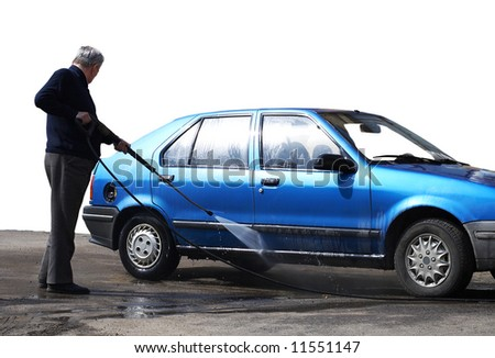 old man washing his car - stock photo