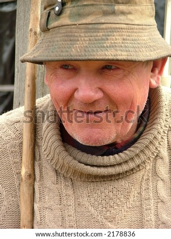 old man with a hat - stock photo
