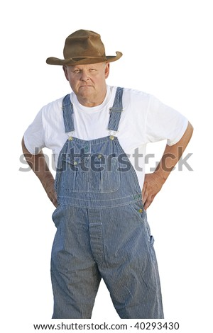 Old Man with a stern mean look on his face - stock photo