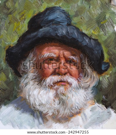 old man with a white beard painted on canvas - stock photo