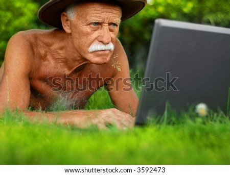 Old man with computer
