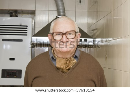 old man with funny face - stock photo