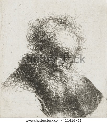 Old Man with Long Beard and White Shirt Sleeve, by Rembrandt van Rijn, 1630-34, Dutch print, etching on paper