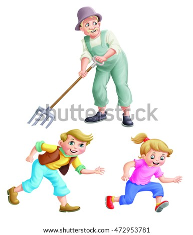 Old man with pitchfork and kids run
