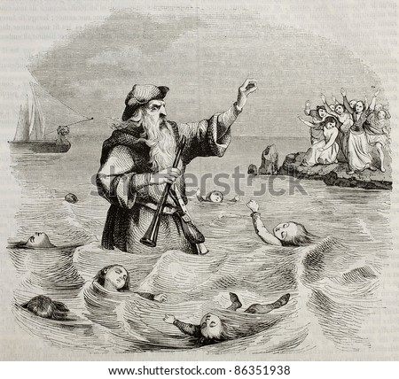 Old man with two flutes, old illustration of the antique legend. Created by Seguin, published on Magasin Pittoresque, Paris, 1843 - stock photo