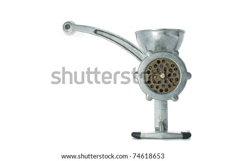 old manual mincer on pure white background - stock photo