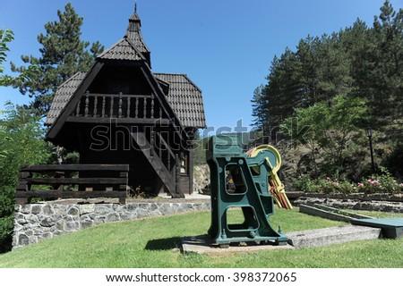 Old manually railway switch, Sarganska osmica at mountain Tara - stock photo