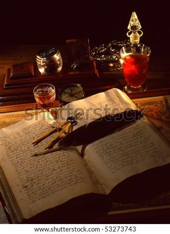 old manuscript hand written book - stock photo
